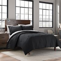 Garment Washed Solid Full/Queen Comforter Set in Onyx