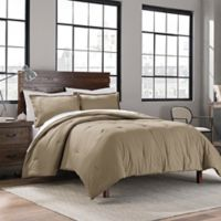 Garment Washed Solid Twin/Twin XL Comforter Set in Taupe