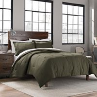 Garment Washed Solid Full/Queen Comforter Set in Army Green