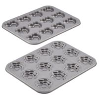 Cake Boss™ Novelty Nonstick 2-Piece Heart & Flower Molded Cookie Pan Set in Grey