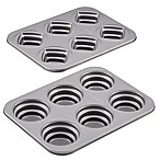 Cake Boss™ Novelty Nonstick 2-Piece Round & Square Stacked Cakelette Pan Set in Grey