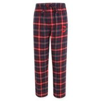MLB Cleveland Indians Men's Medium Flannel Plaid Pajama Pant with Left Leg Team Logo