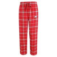 University of Arkansas Men's Medium Flannel Plaid Pajama Pant with Left Leg Team Logo