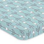 Sweet Jojo Designs Earth and Sky Arrow Print Fitted Mini-Crib Sheet in Blue/Grey