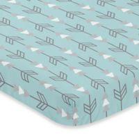 Sweet Jojo Designs Earth and Sky Arrow Print Fitted Mini-Crib Sheet in Blue/Grey