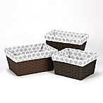 Sweet Jojo Designs Feather Tribal Print Basket Liners in Grey/White (Set of 3)