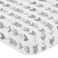 Sweet Jojo Designs Woodsy Arrow Print Fitted Crib Sheet in Grey/White
