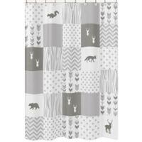 Sweet Jojo Designs Woodsy Shower Curtain in Grey/White