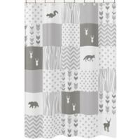Sweet Jojo Designs Woodsy Shower Curtain In Grey White