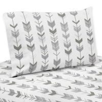 Sweet Jojo Designs Woodsy Arrow Print 3-Piece Twin Sheet Set in Grey/White