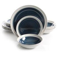 Gibson Elite Clementine 12-Piece Dinnerware Set in Blue/White