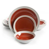 Gibson Elite Clementine 12-Piece Dinnerware Set in Red/White