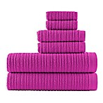 Loft by Loftex Cascading Solid Bath Towels in Fuchsia (Set of 6)