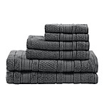 Madison Park Essentials Adrien Bath Towels in Dark Grey (Set of 6)