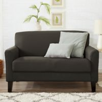 Great Bay Home Dawson Twill Loveseat Slipcover in Cloudburst Grey
