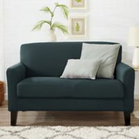 Great Bay Home Dawson Twill Loveseat Slipcover in Mirage Blue