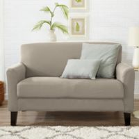 Great Bay Home Dawson Twill Loveseat Slipcover in Silver Cloud