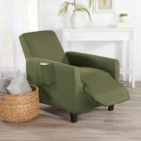 Great Bay Home Dawson Twill Recliner Slipcover in Green