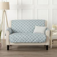 Great Bay Home Liliana Loveseat Furniture Cover in Blue/Silver
