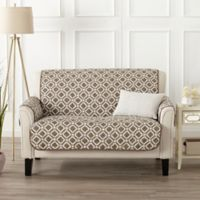 Great Bay Home Liliana Loveseat Furniture Cover in Brown