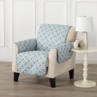 Great Bay Home Liliana Chair Furniture Cover in Blue/Silver