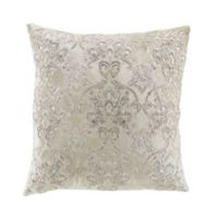 Damask Beaded Square Throw Pillow in Sand
