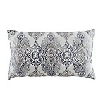 Damask Beaded Oblong Throw Pillow in Slate Blue