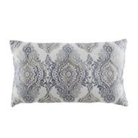 Damask Beaded Oblong Throw Pillow in Slate Blue