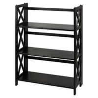 Casual Home Montego 3-Shelf Folding Bookcase in Black