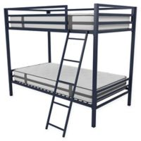 Novogratz Maxwell Twin Over Twin Metal Bunk Bed in Navy