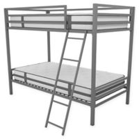Novogratz Maxwell Twin Over Twin Metal Bunk Bed in Grey
