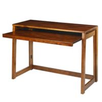 Casual Home Folding Desk with USB Ports in Brown