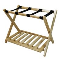 Hotel-Style Folding Luggage Rack with Shelf in Natural