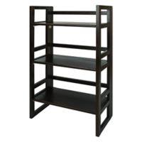 3-Shelf Folding Student Bookcase in Espresso