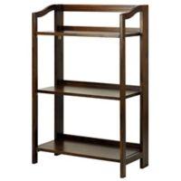Stratford 3-Shelf Folding Bookcase in Warm Brown