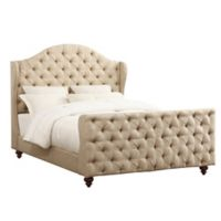 Pulaski Queen Button Tufted Linen Upholstered Bed in Beige