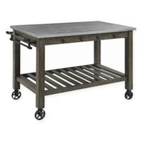 Industrial Kitchen Island with Casters in Gunmetal