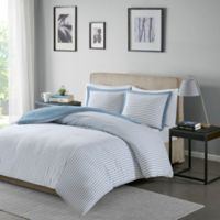 Madison Park Essentials Hayden Reversible Twin Duvet Cover Set in Blue