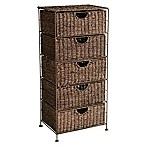 Southern Enterprises Kelsey Seagrass 5-Drawer Storage Tower