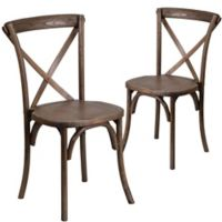 Flash Furniture Early American Cross-Back Side Dining Chairs in Brown (Set of 2)