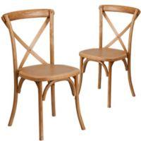 Flash Furniture Hercules Cross Back Chairs in Oak (Set of 2)