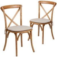 Flash Furniture Cross Back Chairs with Cushions in Oak (Set of 2)