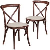 Flash Furniture Cross Back Chairs with Cushions in Mahogany (Set of 2)