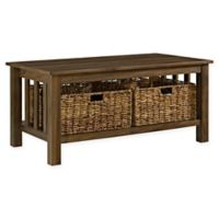 "Forest Gate 40"" Contemporary Wood Storage Coffee Table with Totes in Dark Walnut"