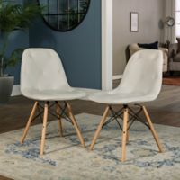 Forest Gate Mid-Century Modern Tufted Faux Leather Chairs in White (Set of 2)