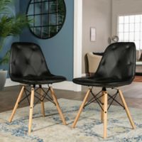Forest Gate Mid-Century Modern Tufted Faux Leather Chairs in Black (Set of 2)