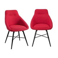 Forest Gate Harlow Mid-Century Modern Linen Side Chair in Red (Set of 2)