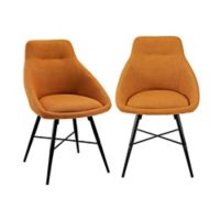 Forest Gate Harlow Mid-Century Modern Linen Side Chair in Mustard (Set of 2)