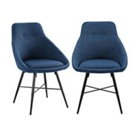Forest Gate Harlow Mid-Century Modern Linen Side Chair in Blue (Set of 2)