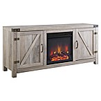 Walker Edison Wheatland Collection 58-Inch Barn Door Fireplace TV Stand in Grey Wash